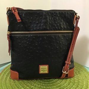 Dooney leather crossbody black ostrich
